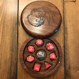 Customized Polyhedral dice box made of walnut wood for use with Dungeons and Dragons, Pathfinder, and other tabletop RPGs