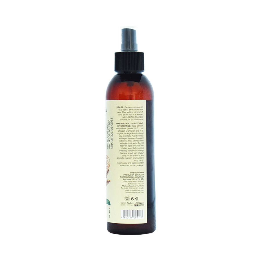 Rear view of Hair care oil by Lacinia cosmetics for dry to normal hair