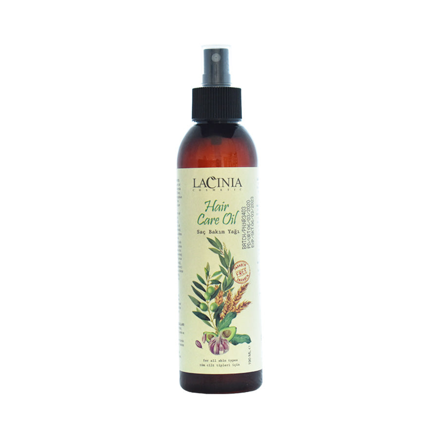 Front view of Hair care oil for dry and normal hair and split ends care by Lacinia cosmetics