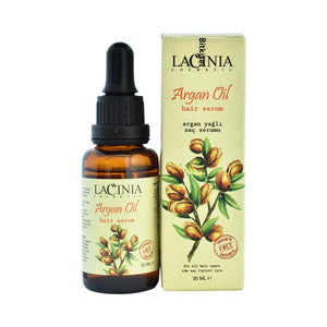 Package view of argan oil hair serum for dry hair and split ends by Lacinia cosmetics