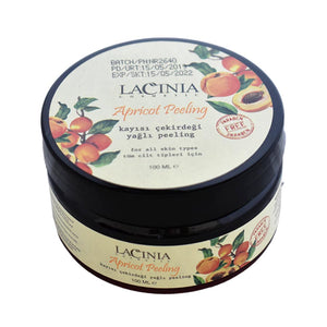 Tilted view of apricot peeling cream by lacinia
