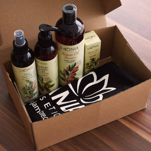 Package view of Dry Hair and Split Ends Care Set for Dry and Normal Hair by Lacinia Cosmetics (argan, maca root, shea butter)