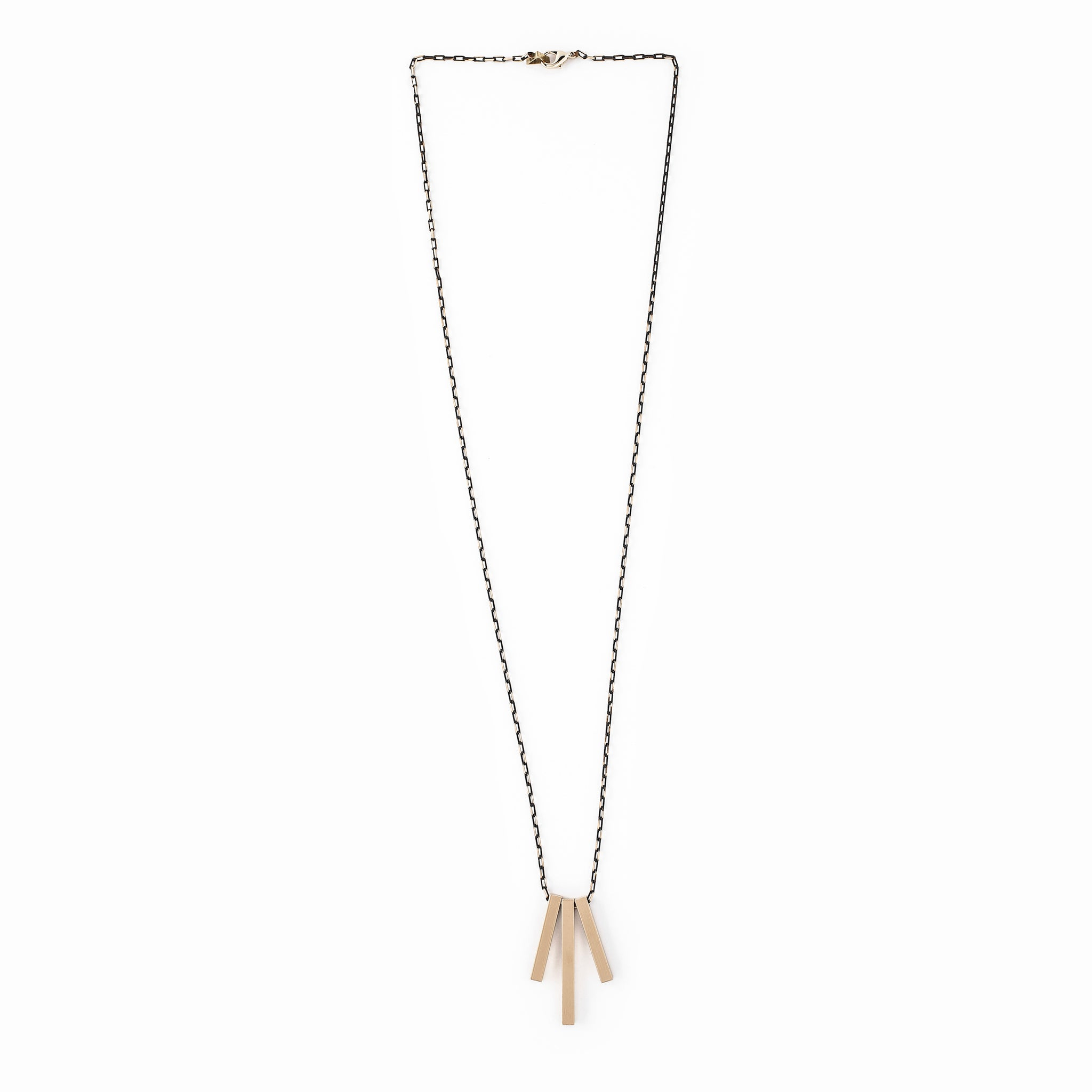 Three Brass Bar Necklace