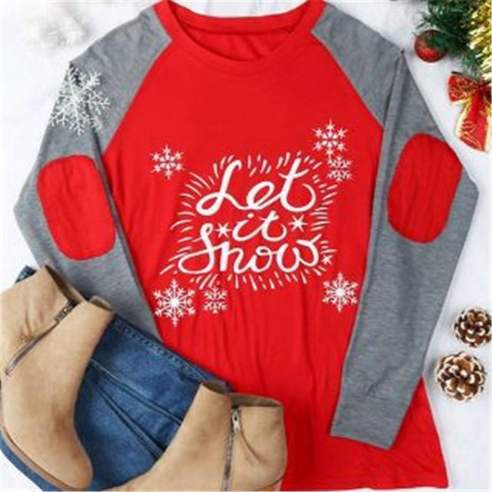 Christmas Letters Printing Casual T-Shirt Blouse