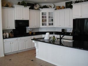 Sympathetic White Cabinets Dark Countertops