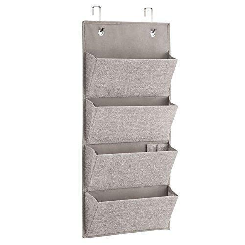 iDesign InterDesign Wall Mount/Over Door Fabric Closet Storage Clutch Purses, Handbags, Scarves, Linen Aldo Hanging 4-Pocket Organizer,