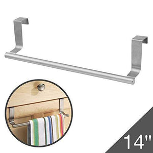 Best seller  over cabinet towel bar with hooks 14 brushed stainless steel towel rack for bathroom and kitchen with 22 lbs maximum load