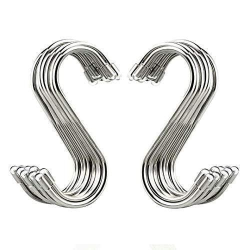 The best 20 pack s shaped hooks stainless steel metal hangers hanging hooks for kitchen work shop bathroom garden
