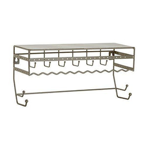 "Simplify 2700-SAT Satin 13.5"" Wall Mount Jewelry Storage Rack Organizer Shelf for Earrings, Bracelets, Necklaces, and Hair Accessories"