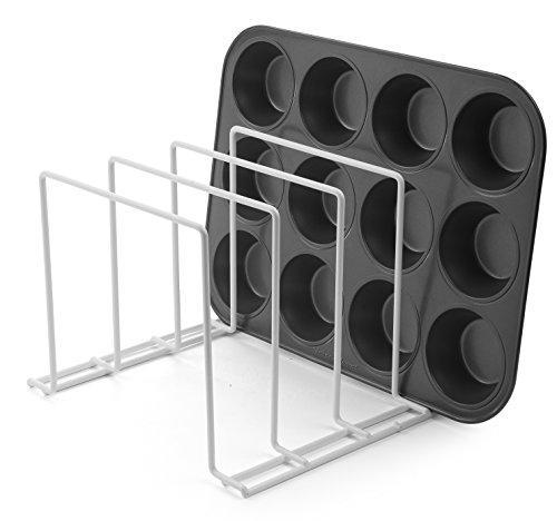 Great stock your home large rust free durable coated steel bakeware organizer kitchen cookware rack for dinnerware bakeware cookware cutting boards pot pan lids white 2 pack
