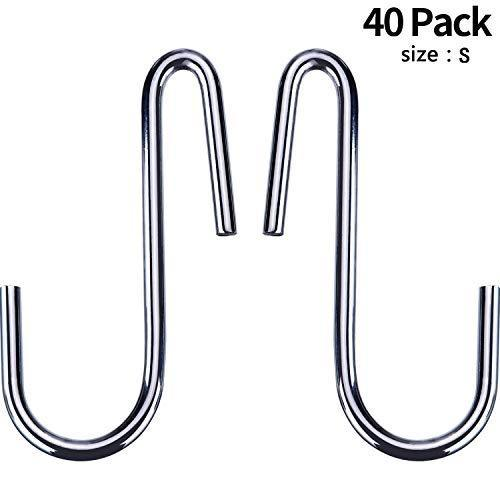 Latest 40 pack heavy duty s hooks stainless steel s shaped hooks hanging hangers for kitchenware spoons pans pots utensils clothes bags towers tools plants silver