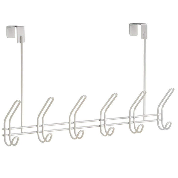 InterDesign Classico Over Door Organizer Hooks – 6 Hook Storage Rack for Coats, Hats, Robes or Towels, Pearl White
