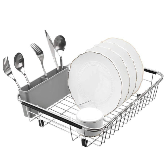 On amazon blitzlabs dish drying rack stainless steel with utensil holder adjustable handle drying basket storage organizer for kitchen over or in sink on countertop dish drainer grey