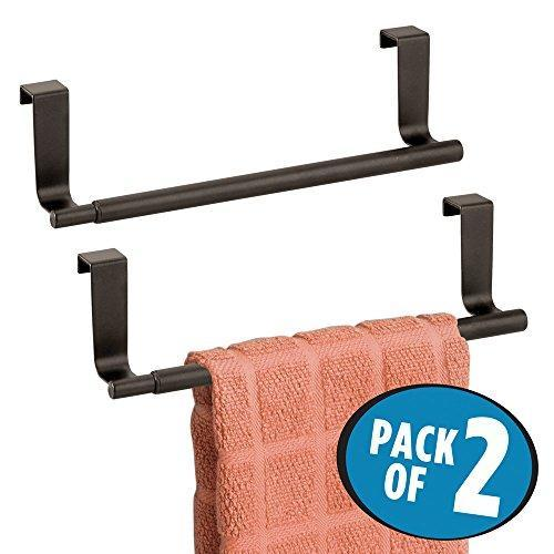 Top mdesign decorative kitchen over cabinet expandable towel bars hang on inside or outside of doors for hand dish and tea towels pack of 2 bronze finish