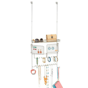InterDesign Classico Hanging Fashion Jewelry Organizer for Rings, Earrings, Bracelets, Necklaces - Over Door, Satin