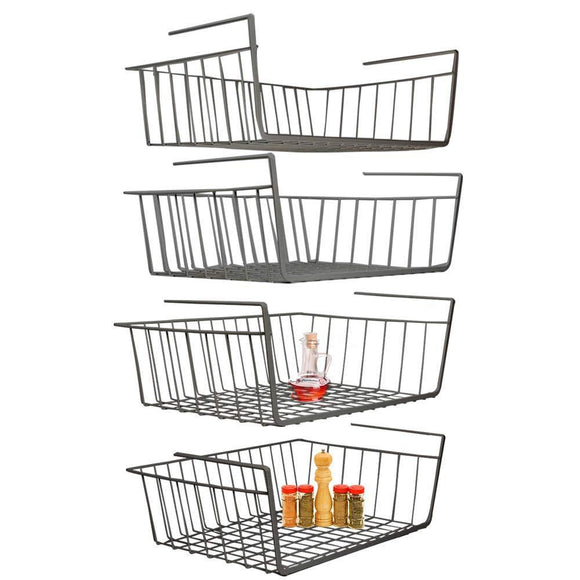 Shop for under shelf basket 4 pack black wire rack slides under shelves for storage space on kitchen pantry desk bookshelf cupboard