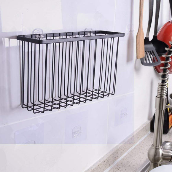 Over the Cabinet Door Organizer Holder, EINFAGOOD Over the Cabinet Basket with Adhesive Pads and 2 Adhesive Hooks, Black Coat (2 Pack) (1. Door Basket)