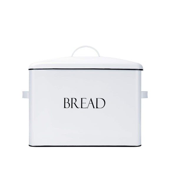 New outshine vintage metal bread bin countertop space saving extra large high capacity bread storage box for your kitchen holds 2 loaves 13 x 10 x 7 white with bread lettering