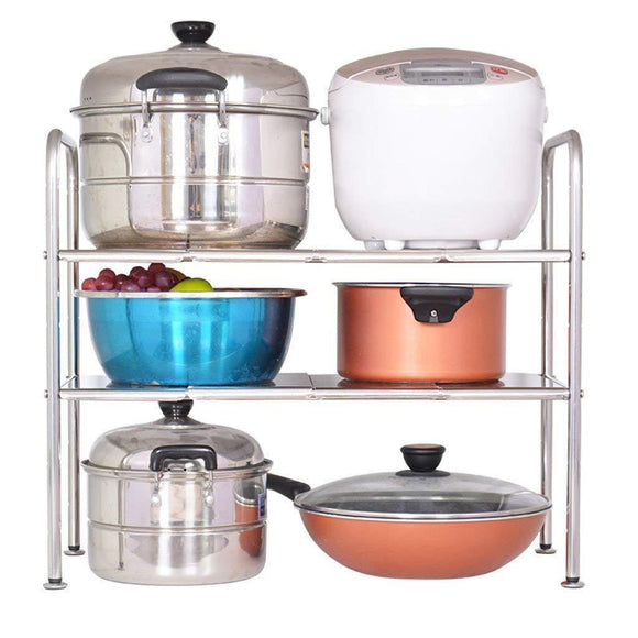 Discover the sevenpring practical kitchen storage stainless steel cabinet racks kitchen multifunction sink rack adjustable mesa shelf pot rack shelf floor standing microwave oven rack length 75 85cm multifunction