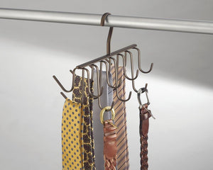 InterDesign Axis Closet Storage Organizer Rack for Ties, Belts - Large, Bronze