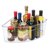 Storage mdesign kitchen cabinet plastic lazy susan storage organizer bins with front handle large pie shaped 1 4 wedge 6 deep container food safe bpa free 4 pack clear