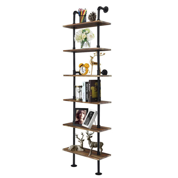 Select nice giantex 6 tier industrial pipe shelves with wood rustic wall shelves vintage pipe wall shelf for bedrooms kitchens coffee shops or bar storage pickles wood grain