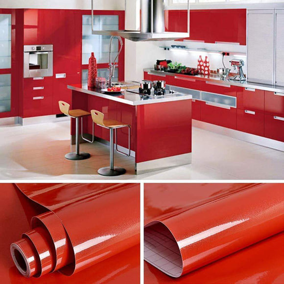 Save yenhome 24 x 393 glossy red self adhesive vinyl contact paper for cabinets covering kitchen table drawer and shelf liner removable self adhesive wallpaper for furniture wardrobe decor