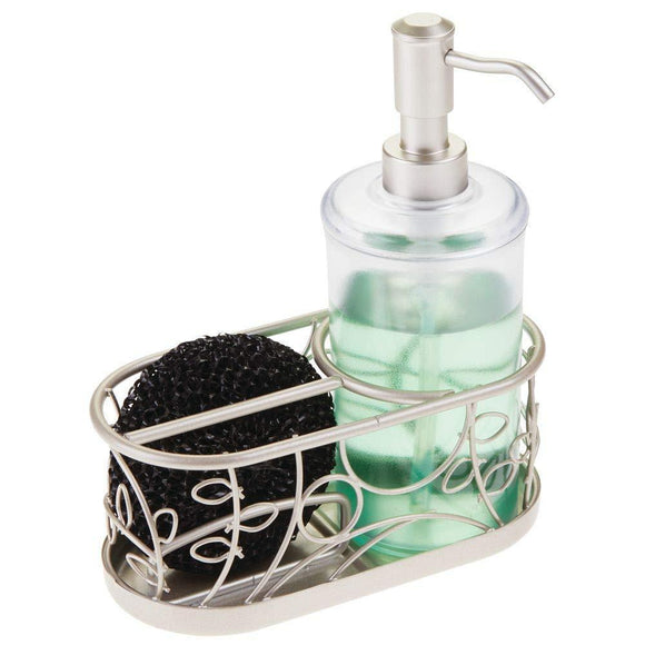 Latest mdesign decorative wire kitchen sink countertop pump bottle caddy liquid hand soap dispenser with storage compartment holds and stores sponges scrubbers and brushes vine design clear satin