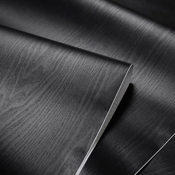 Exclusive textured black wood grain contact paper self adhesive shelf liner for bathroom kitchen cabinets shelves countertop table arts crafts decal 24x117 inches