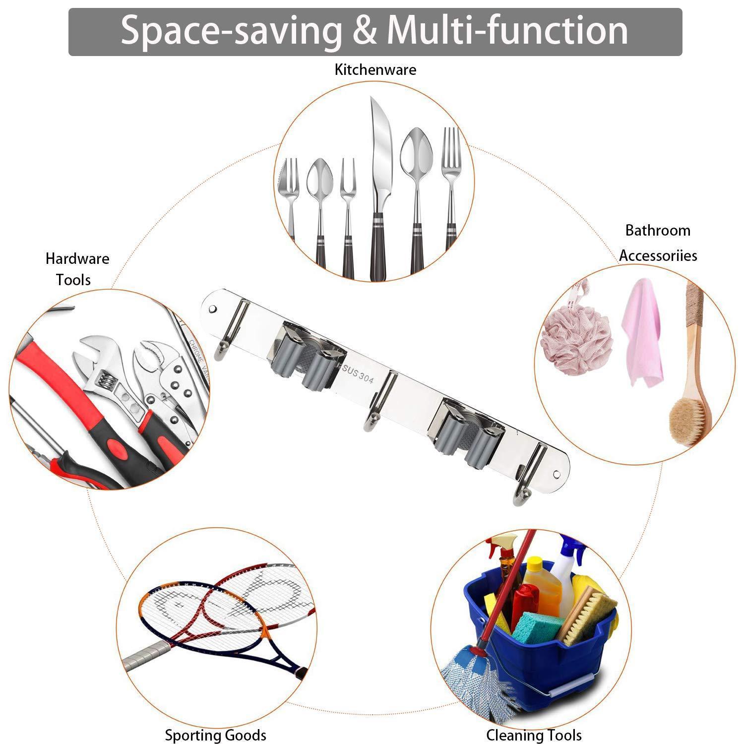 Grey Ahiment Broom Mop Holder Wall Mount,Stainless Steel Garden Tool Organizer with 2 Racks 3 Hooks for Kitchen,Bathroom,Garage and Closet