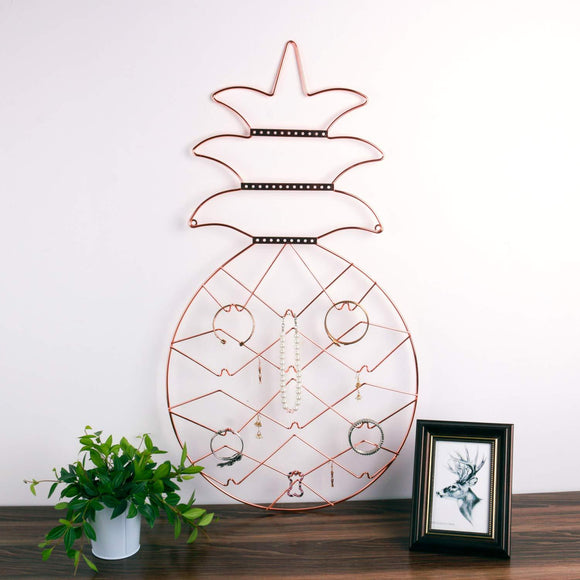 Jewelry Organizer, Nugoo Pineapple Shape Hanging Jewelry Display Holder, Wall Mount Jewelry Rack for Earrings, Necklaces and Bracelets, Rose Gold