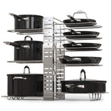 Discover geekdigg pot rack organizer adjustable height and position kitchen counter and cabinet pan organizer shelf rack pot lid holder with 3 diy methods silver
