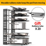 Budget friendly geekdigg pot rack organizer 3 diy methods height and position are adjustable 8 pots holder black metal kitchen cabinet pantry pot lid holder upgraded