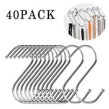 Latest s shaped hooks rustproof for hanging pots and pans heavy duty stainless steel metal hanger for home office kitchen utensils set of 40
