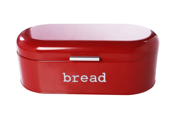 Get large bread box for kitchen counter bread bin storage container with lid metal vintage retro design for loaves sliced bread pastries red 17 x 9 x 6 inches