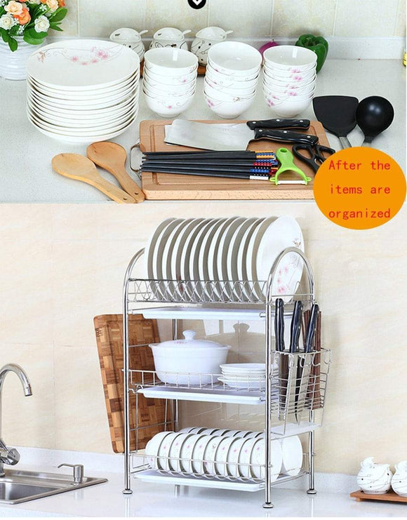 Related 3 tier dish drying rack dish drainer kitchen storage organization shlef stainless steel geyueya home