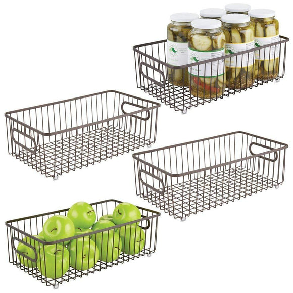 Top mdesign metal farmhouse kitchen pantry food storage organizer basket bin wire grid design for cabinets cupboards shelves countertops holds potatoes onions fruit large 4 pack bronze