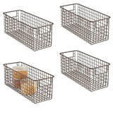 Budget mdesign farmhouse decor metal wire food storage organizer bin basket with handles for kitchen cabinets pantry bathroom laundry room closets garage 16 x 6 x 6 4 pack bronze