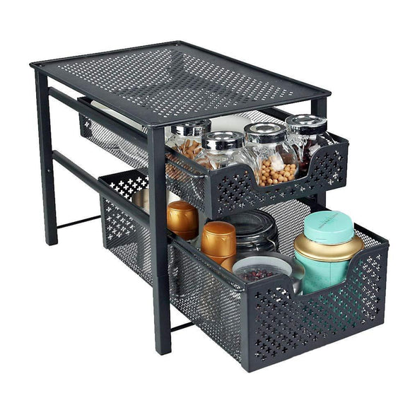 Products stackable 2 tier organizer baskets with mesh sliding drawers ideal cabinet countertop pantry under the sink and desktop organizer for bathroom kitchen office