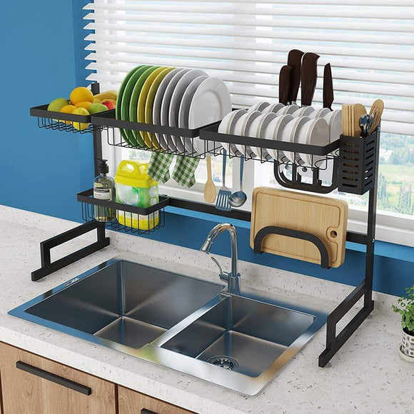 Online shopping whifea dish drying rack kitchen storage shelf over sink stainless steel sink dish rack kitchen supplies organizer utensils holder matte black l 33 5 inch x w 12 6 inch x h 20 5 inch