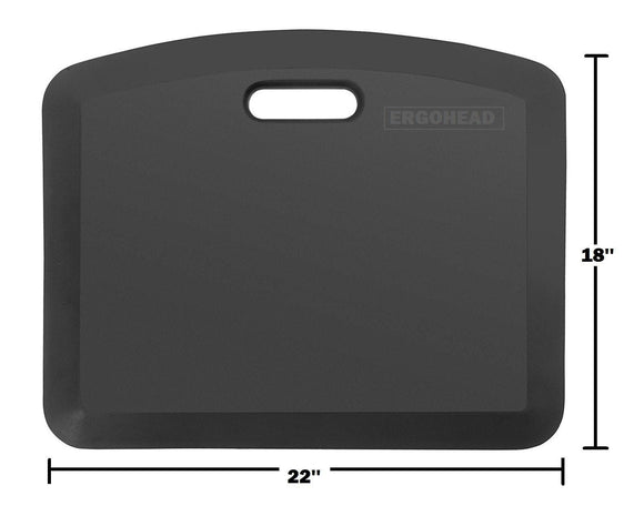Get original ergohead anti fatigue comfort standing mat ergonomically engineered perfect for standing desk kitchen gardening and garages 18 x 22 inches black