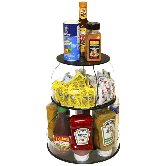 Try kitchen organizer that spins for easy access only 12 of counter space all your used daily items at your fingertips bonus clear sides keep it in proudly made in the usa