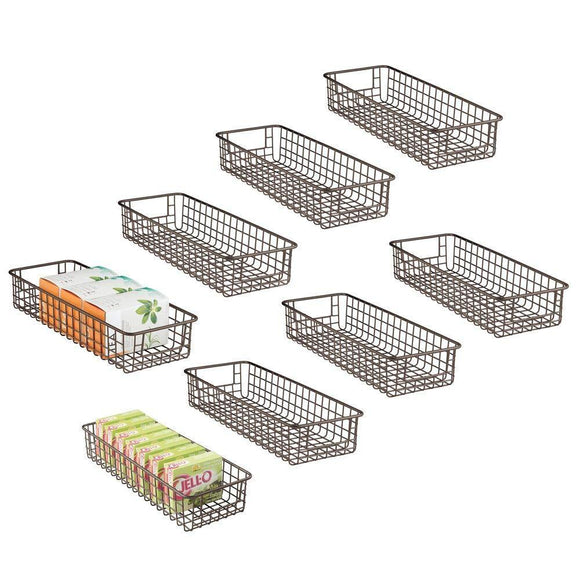 Buy mdesign household wire drawer organizer tray storage organizer bin basket built in handles for kitchen cabinets drawers pantry closet bedroom bathroom 16 x 6 x 3 8 pack bronze