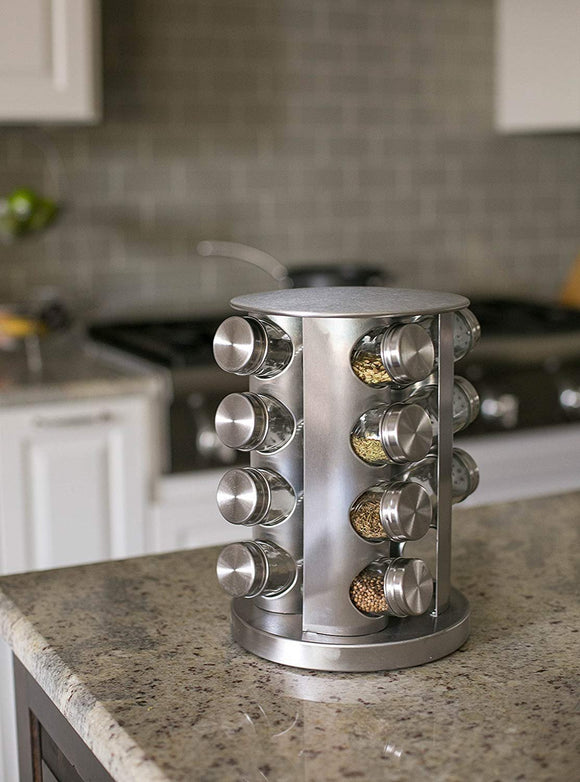 Discover double2c revolving countertop spice rack stainless steel seasoning storage organization spice carousel tower for kitchen set of 16 jars