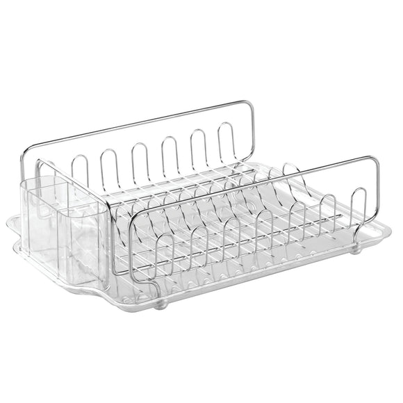 Shop here interdesign forma lupe kitchen large capacity dish drainer rack with drip tray for drying glasses silverware cookware plates pack of 4 stainless steel clear