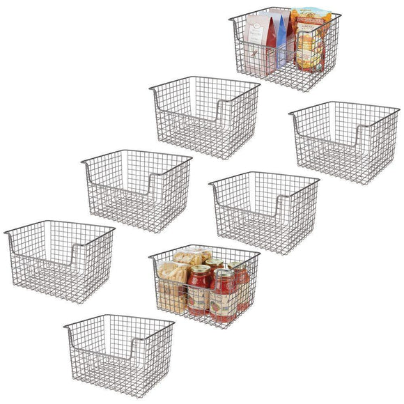Save on mdesign metal kitchen pantry food storage organizer basket farmhouse grid design with open front for cabinets cupboards shelves holds potatoes onions fruit 12 wide 8 pack graphite gray