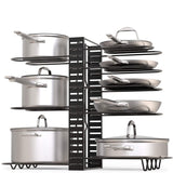 Best geekdigg pot rack organizer 3 diy methods height and position are adjustable 8 pots holder black metal kitchen cabinet pantry pot lid holder upgraded