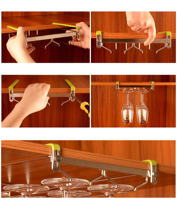 Results vobaga stemware racks 3 rows adjustable stainless steel wine glass rack stemware hanger bar home cup glass holder dinnerware kitchen dining hold 9 glasses