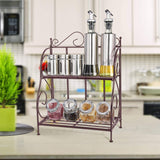 Home packism storage rack 2 tier bathroom organizer foldable spice rack for kitchen countertop jars storage organizer counter shelf bronze