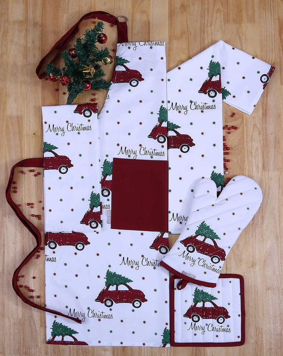 Save on set of apron oven mitt pot holder pair of kitchen towels in a unique merry christmas design made of 100 cotton eco friendly safe value pack and ideal gift set kitchen linen set by casa decors